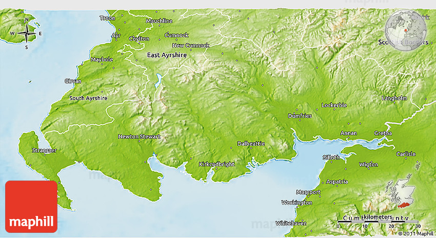 Dumfries And Galloway United Kingdom  City new picture : physical 3d map of dumfries and galloway
