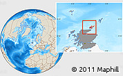 Shaded Relief Location Map of Orkney Islands, highlighted country, highlighted parent region
