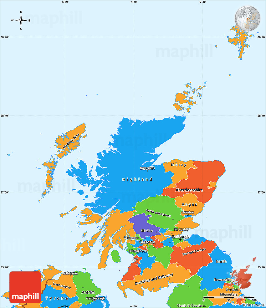 Political Simple Map of Scotland