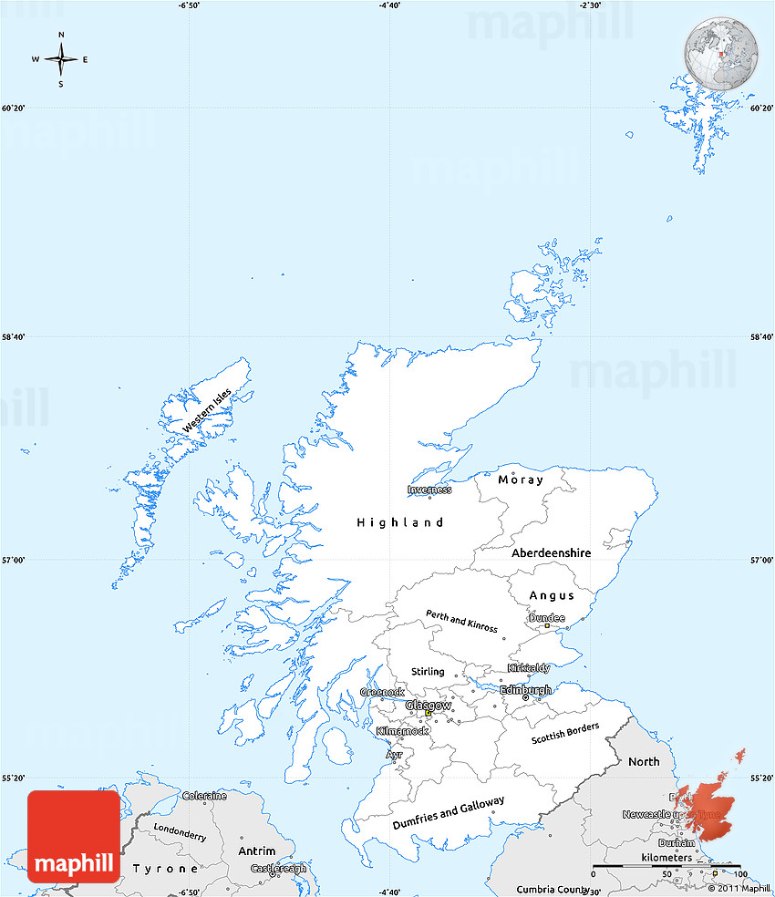 Simple Site Map: Silver Style Simple Map Of Scotland
