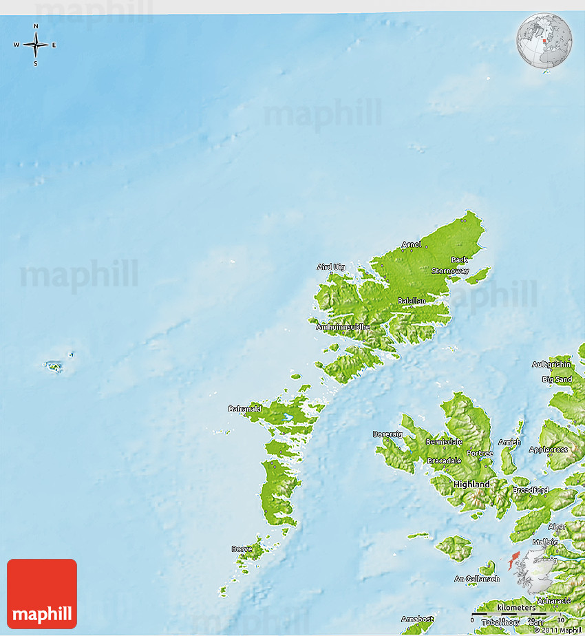 Physical 3D Map of Western Isles