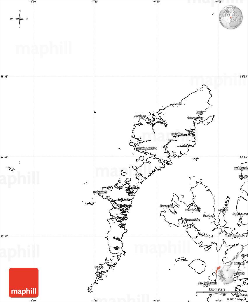 Blank Simple Map of Western Isles