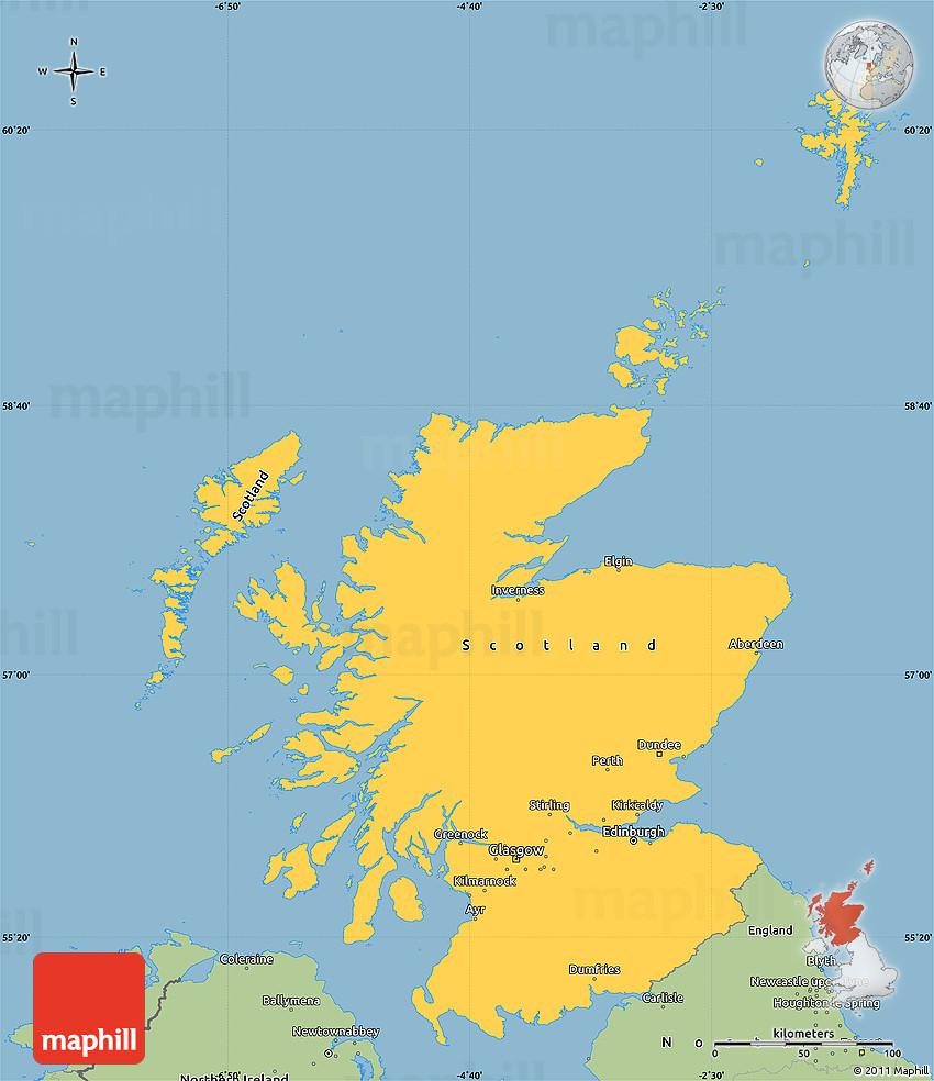 Savanna Style Simple Map of Scotland