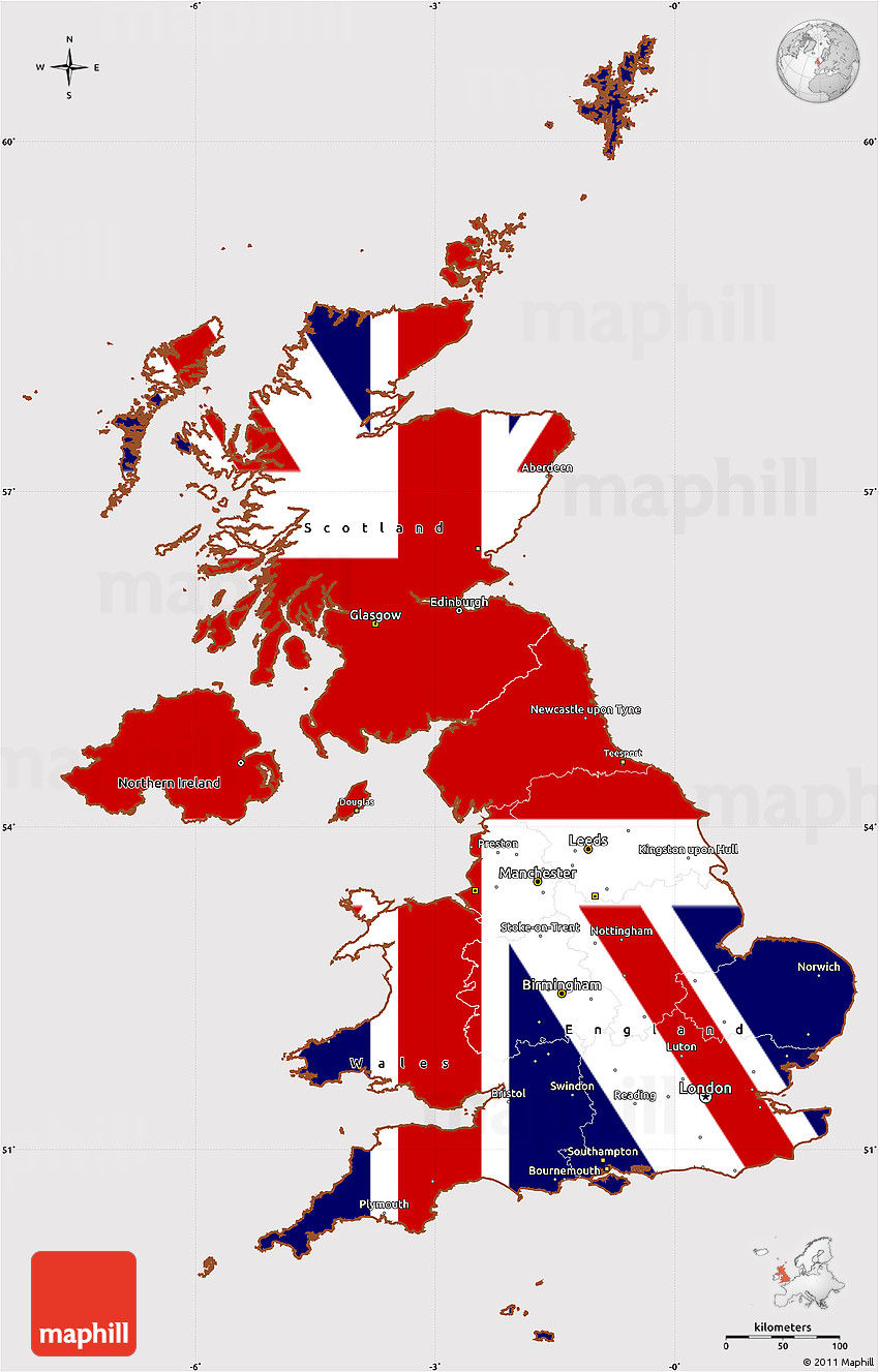 Flag Simple Map Of United Kingdom - United kingdom map