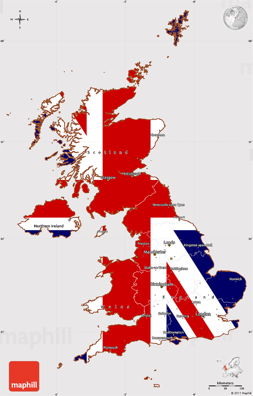 flag simple map of united kingdom flag rotated