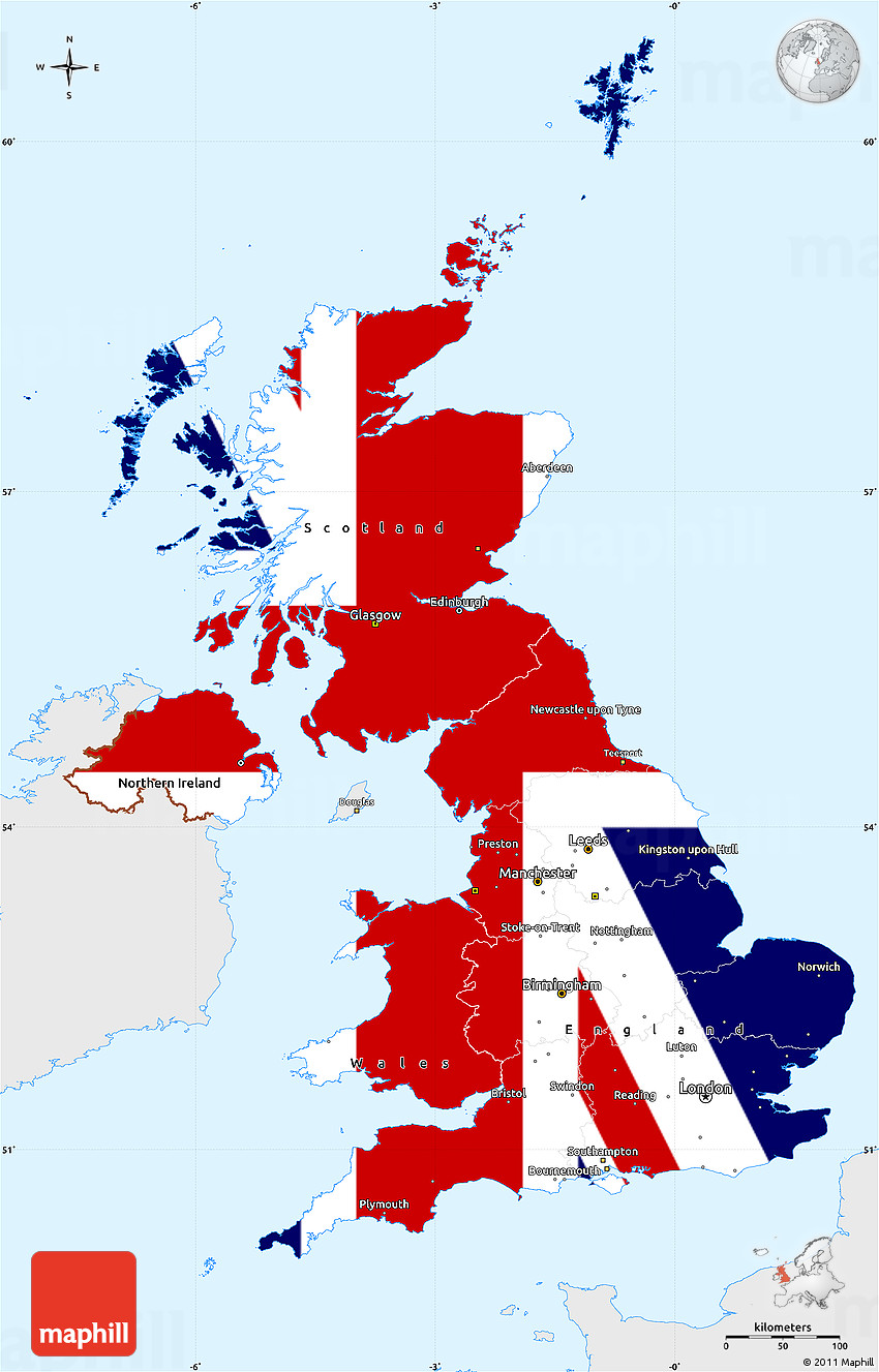 Flag Simple Map of United Kingdom single color outside flag