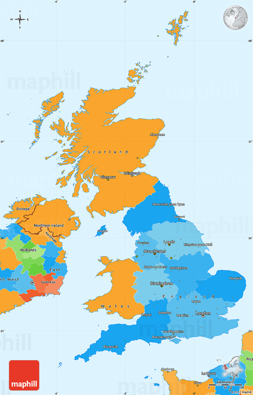 Political Simple Map of United Kingdom