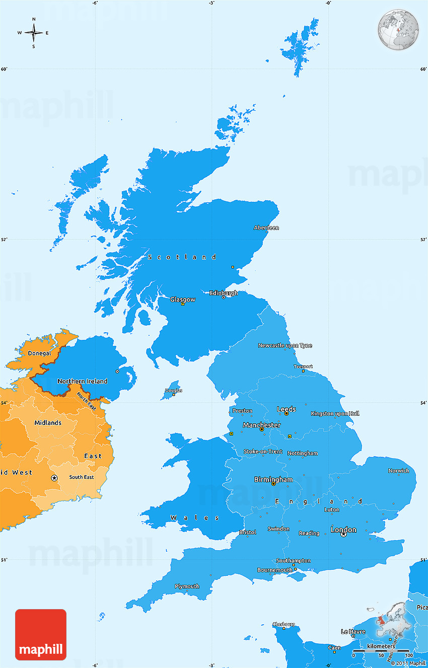 Political Shades Simple Map of United Kingdom