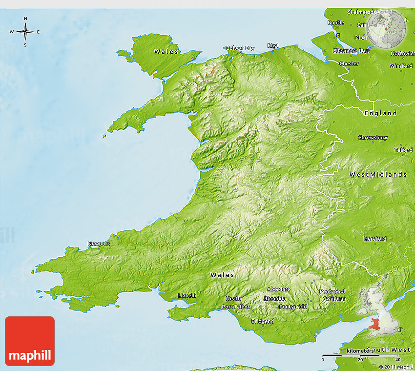 Physical D Map Of Wales - Topographic map of united kingdom