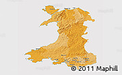 Political 3D Map of Wales, cropped outside