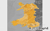 Political 3D Map of Wales, darken, desaturated