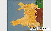 Political 3D Map of Wales, darken