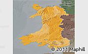 Political 3D Map of Wales, darken, semi-desaturated