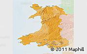 Political 3D Map of Wales, lighten