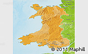 Political 3D Map of Wales, physical outside