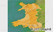 Political 3D Map of Wales, satellite outside