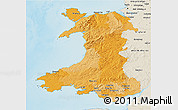 Political 3D Map of Wales, shaded relief outside