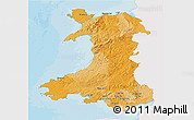 Political 3D Map of Wales, single color outside