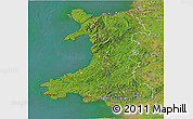 Satellite 3D Map of Wales