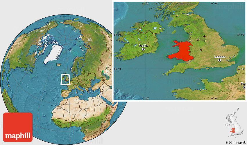 Satellite Location Map of Wales