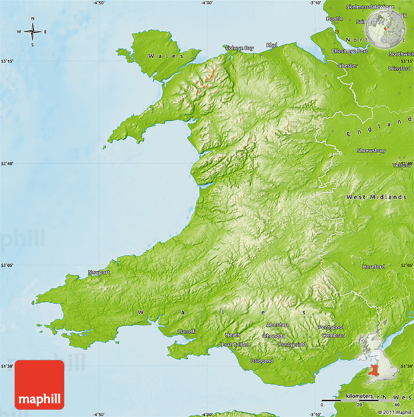 Physical map of wales sciox Image collections