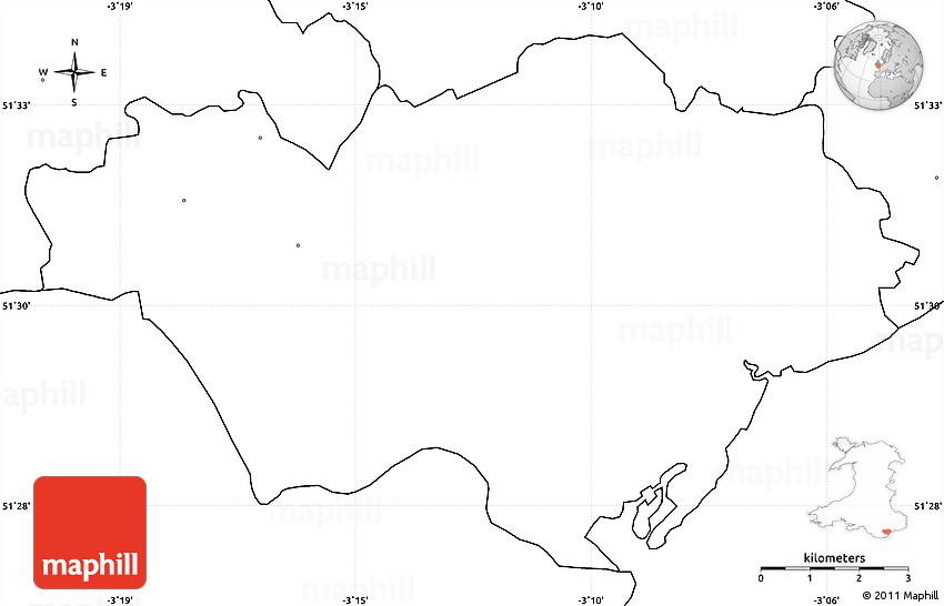 Blank Simple Map Of Cardiff Caerdydd