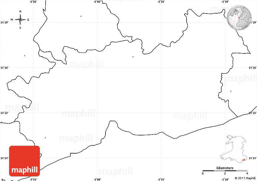 Blank Simple Map Of Newport Casnewydd No Labels