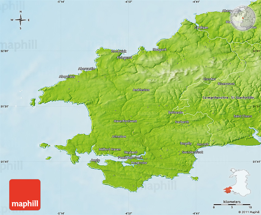 Pembrokeshire United Kingdom  city photos : Physical Map of Pembrokeshire – Sir Benfro
