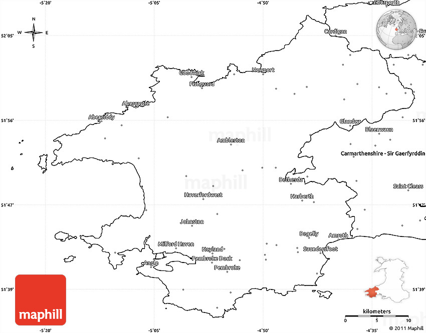 Pembrokeshire United Kingdom  city pictures gallery : Blank Simple Map of Pembrokeshire – Sir Benfro