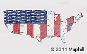 Flag 3D Map of United States, flag rotated