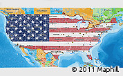 Flag 3D Map of United States, political outside