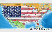 Flag 3D Map of United States, political shades outside
