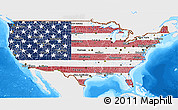 Flag 3D Map of United States, single color outside, bathymetry sea