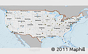 Gray 3D Map of United States, single color outside