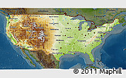 Physical 3D Map of United States, darken