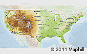 Physical 3D Map of United States, lighten