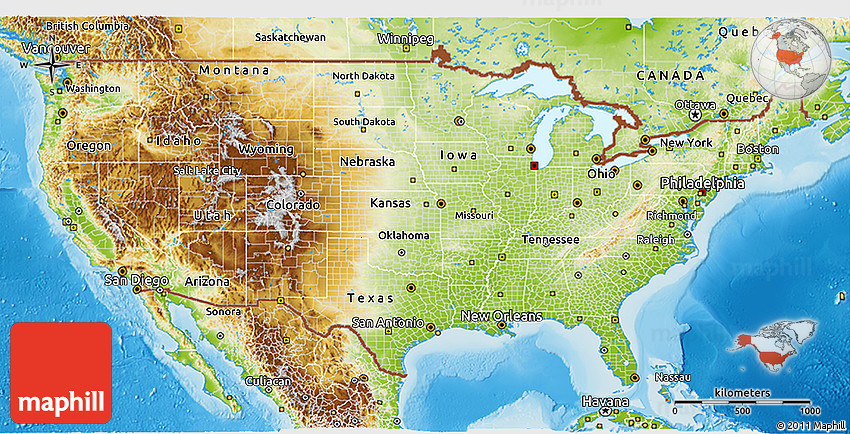 Physical 3D Map of United States