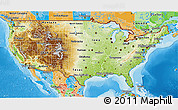 Physical 3D Map of United States, political outside, shaded relief sea