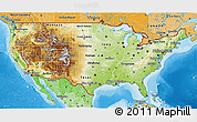 Physical 3D Map of United States, political shades outside, shaded relief sea