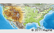 Physical 3D Map of United States, semi-desaturated, land only