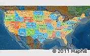 Political 3D Map of United States, darken