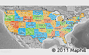 Political 3D Map of United States, desaturated