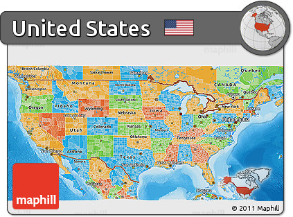 free political 3d map of united states