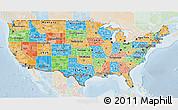 Political 3D Map of United States, lighten