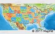 Political 3D Map of United States, physical outside