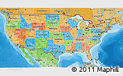 Political 3D Map of United States, political shades outside