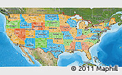 Political 3D Map of United States, satellite outside, bathymetry sea