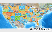 Political 3D Map of United States, semi-desaturated, land only