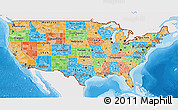 Political 3D Map of United States, single color outside