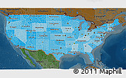 Political Shades 3D Map of United States, darken